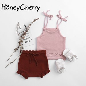 Summer girl set 2020 Baby Knitted Cotton Suspension + Knitted Cotton Yarn Bread Pants Two-piece Suit For Baby Girls