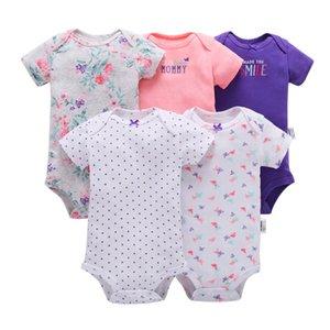 5Pcs Set Newborn Baby Bodysuits Toddler Girls Floral Letter Print Jumpsuit Short Sleeve Infant Boys Casual Bodysuit Bodys