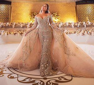 2020 Plus Size Arabic Aso Ebi Gold Luxurious Lace Beaded Wedding Dresses Mermaid Long Sleeves Bridal Dresses Vintage Wedding Gowns ZJ255
