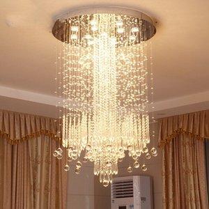 Lustre en cristal minimaliste moderne LED vanité longue escalier lustre pour salon grand hall de hall d'hôtel de luxe