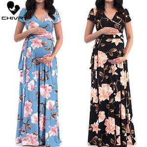 Chivry Maternity Dress Women Floral Print Short Sleeve V-neck Maxi Long Dress Pregnant Casual Clothes Summer Maternity