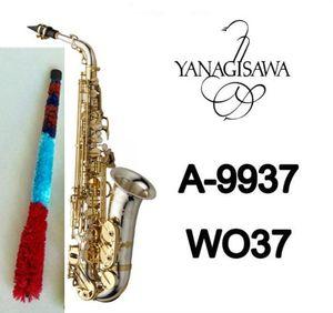Marca NEW YANAGISAWA A-WO37 Alto Saxophone niquelado Gold Key Professional YANAGISAWA Super Jogar Sax Bocal com caso