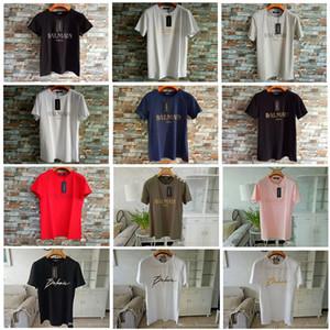 Balmain Erkekler Tasarımcı tişörtleri% 100 Casual Giyim Malzemesi Stretch Giyim Doğal İpek Klasik Beachwear Kısa Kollu İçin Erkek Tişört