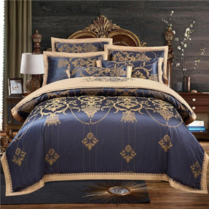 42Luxury black Bedding Sets silk cotton Jacquard Davet Cover Set wedding Bedclothes / fitted Bed Linen Quilt Cover