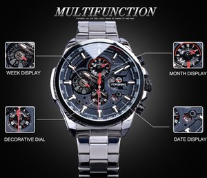Forsining Steampunk Design Trois petit cadran Complet étanche automatique Montres Hommes Top Marque Luxe Sport Horloge