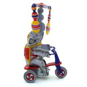NB desenhos animados Tinplate Wind-Up Toy, elefantes passeio triciclos, Espanhol Acrobacia, ornamento nostálgico, Kid presente Xmas aniversário coletar, MS814,2-2