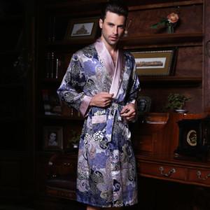 2017 New Male Silk Satin Long-Sleepwear 100% Silk High Quality Men to Robe dresse YE2519