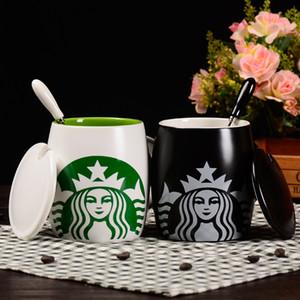 Starbucks Becher Keramik Kaffeetasse mit Deckel Große Kapazität Tier Tassen Kreative Getränkekaffee Teetassen Neuheit Geschenke Milch Cup