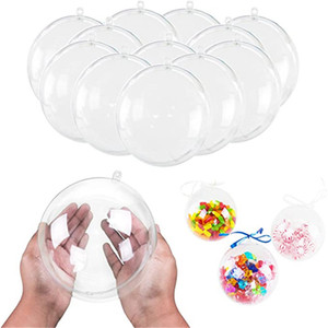 4cm 6cm 8cm 10cm Christmas Decorations Balls Openable Transparent Plastic Christmas Tree Ornament Party New Year Gift Balls