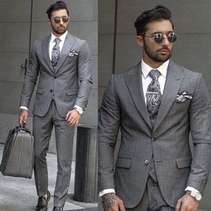 Bussiness Mens Suits Gray Stripe Plaid Wedding Groom Tuxedos Groomsmen Vent Slim Suits Fit Best Man Suit Wedding (Jacket+Vest+Pants)
