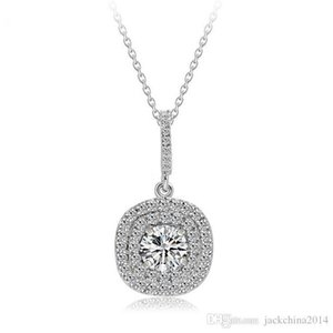 Nlm99 New Top Selling Luxury Jewelry 925 Sterling Silver Pave Stunning White Sapphire CZ Diamond Gemstones Women Necklace Pendant With Chain
