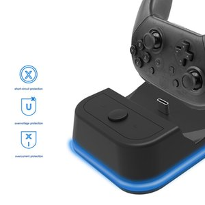 Light Indicator Dual Charging Dock Station for Nintend Switch Pro Controller NS Gamepad