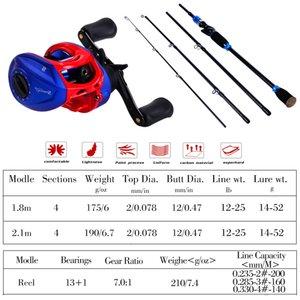 Sougayilang Lure Fishing Rod and Baitcasting Reel Combo Portable 4 Section M Power Fishing Pole Casting Fishing Reel Sets Pesca