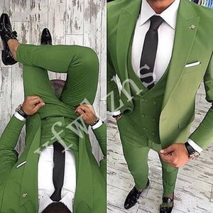 High Quality One Button Handsome Peak Lapel Groom Tuxedos Men Suits Wedding Prom Dinner Best Man Blazer(Jacket+Pants+Tie+Vest) W116