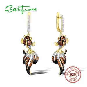 SANTUZZA boucles d'oreilles en argent pour les femmes 925 Sterling Silver Dangle Earrings Argent 925 Or Couleur Cubic Zirconia brincos Bijoux C18122801