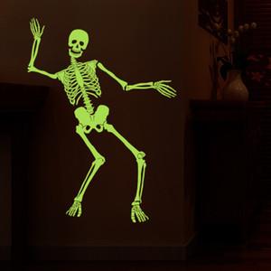 20190621 Halloween Criativo Terror Arranjo Esqueleto Esqueleto Adesivo Papel de Parede Luz Da Noite Adesivo