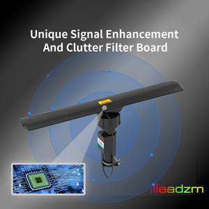 HD TV Antena exterior amplificador de señal con control remoto 40-860MHz 350 ° Rotating UV de doble segmento 20 ± 3dB Negro