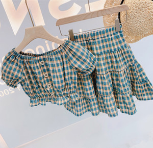 Girls summer outfits 2020 kids plaid printed falbala short sleeve tops+plaid skirt 2pcs sets children cotton holiday clothing A2996