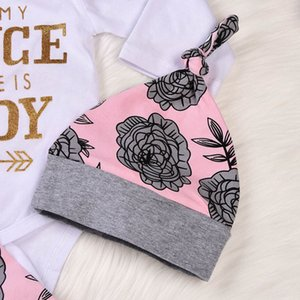 4pcs Letter Newborn Baby Girls Princess Clothes Lovely Letter long Rompers Autumn Jumpsuit+flowers Print Pants+hat+hairbands