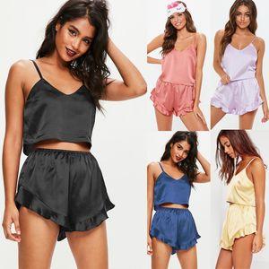 Summer Women Sexy Lingerie Off Shoulder Straps Tops+Short Pants Satin Babydoll Sleepsuit Pajamas Underwear Nightwear Sleepwear