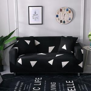 Siyah Geometri Kabartma Streç Kanepe Kapak Gri Çizgili Streç Mobilya Odası Polyester Kanepe Kanepe Slipcover Kiti için Kapakları