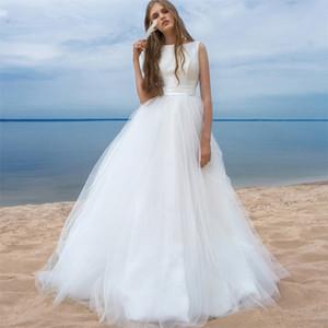 2020 простые пляжные свадебные платья без рукавов совок шеи тюль свадебные платья V-образные обратные формальные длинные Vestidos de Soiree просто