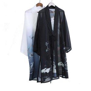 Casual chinês Roupa pássaros do verão Impresso Belt Homme Casacos Primavera Dividir estilo chinês Cardigans 2020 Mens Han