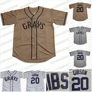 20 Josh Gibson Jersey Homestead Grays Negro Liga Button-Down-Grau New Baseball-Shirts