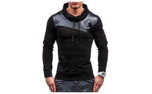 Patchwork Hoodies Langarm-Kapuzen Casual Male Kleidung Panelled Gerade Pullover Homme Sweatshirts Frühling Mens PU