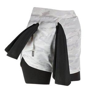 2020 Лето 2 в 1 Бег Спортивные шорты Мужчины Бег Фитнес шорты Quick Dry Камуфляж Упругие Спортзалы тренировки Короткие Pant для мужчин