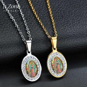 Uzone Virgin religiosa Mary Pingente Amuleto de aço inoxidável Christian Jóias CZ Stone Oração Collar colares para as mulheres