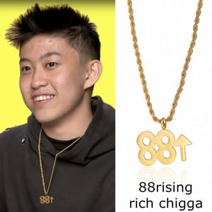 Hip hop men women Rap Accessories Rich brian 88 rise necklace Titanium steel Pendant