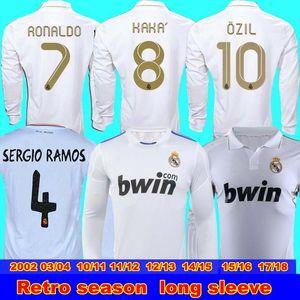 2002 03 04 10 11 11 12 13 14 15 16 17 18 Real Madrid Retro uzun RAUL Robinho Zidane Beckham Real Madrid Retro forma Erkekler manşonlu