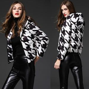 Womens Designer doudounes Parkas grande taille Veste courte section Down Light Ladies auto-culture Houndstooth Manteau de modèle pour les filles