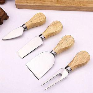 Деревянная ручка сыр нож slicer комплект из нержавеющей стали кухня готовить инструменты торт пицца полезные аксессуары 4 шт./компл.