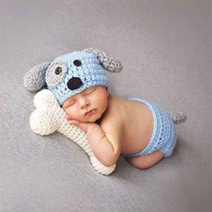 Yeni! Yenidoğan Bebek Giyim Seti Hayvan Baby Boy Aksesuarları Yenidoğan Fotoğraf Dikmeler Saf Yüksek Kalite El yapımı şapka Elle örme