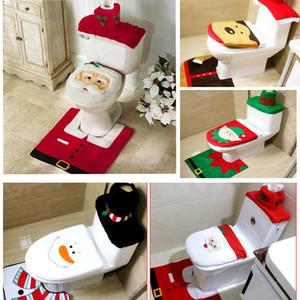 Toilet Seat Covers Decoración de Navidad 3 pedazo / sistema de asiento de inodoro del reno de Santa Cubre Alfombra hotel Baño Set regalo de Navidad XD21831