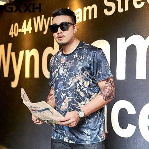 GXXH Big Men's Wear Summer Trend Brand Men's Short-sleeved T-shirt Round Collar Polyester Comfortable Cool Fat Guy 7XL Tops Tees
