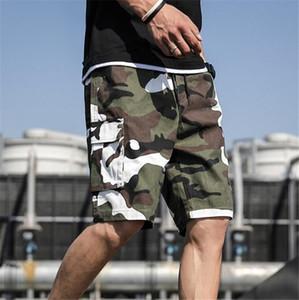 Homme Plus Size Camouflage Shorts Hip Hop adolescentes comprimento do joelho calças soltas Casual bolso de carga Shorts