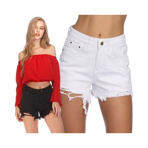 White Solid Frayed Edge Casual Denim Shorts Young Women 2019 Summer Streetwear Zipper Button Female Pocket Shorts
