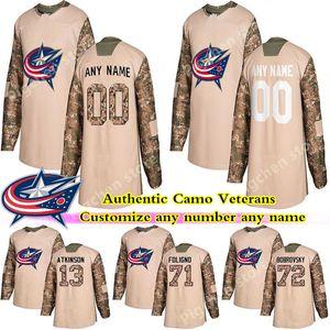Camo Veterans Day Practice Blue jackets jerseys 13 ATKINSON 3 JONES 95 DUCHENE DUBOIS WERENSKI custom any number any name hockey jersey