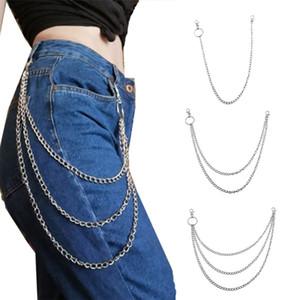 3Pieces Unisex Metal Wallet Chain Jeans Biker Rocker Double Layered Necklace