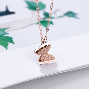 Shining Scrub Butterfly Pendant Necklace Stainless Steel 14k Gold Plated Titanium Steel New Designer Jewelry Woman Girl Gift