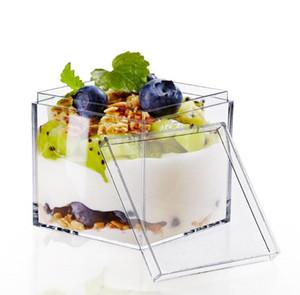 130ml square Nachspeise mit Deckel transparent Nachspeise cup mousse box tortenschachtel Kunststoff klar Behälter Speisen