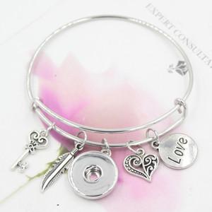 Braccialetti di fascino Il nuovo modo di trasporto DIY intercambiabile Amore piuma espandibile braccialetto Bracele 18 millimetri Snap braccialetti all'ingrosso gioielli