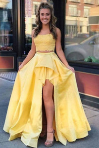 2020 Hotest Yellow Square Neck Two Pieces High Low Prom Homecoming Party Dresses Lace Satin PLeated Evening Formal Dress Gown Cheap