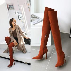 Плюс размера 32 до 42 до 48 моды оранжевых синтетической замши отметил высокий каблук по колену высоких сапог красных черными