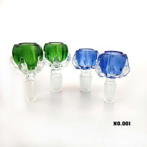 Yeni 14mm 18mm Ejderha pençe Cam Bowls ile Mavi / Yeşil Erkek Cam Çanaklar İçin Su Boruları Petrol Kuyuları Cam Bongs