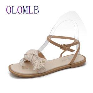 Sandalet 2021 Kadın Sneakers Ayakkabı Yumuşak Kanca Rahat Terlik Siyah Kürklü Zemin Bej Yaz L082