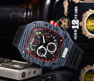 Swiss personality with the same type of wine barrel shaped fiber shell watches stylish men's multi-functional calendar silicone non-mechanic